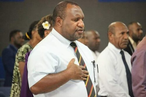 Papua new guinea's Prime Minister James Marape Praying during the National Prayer Day.